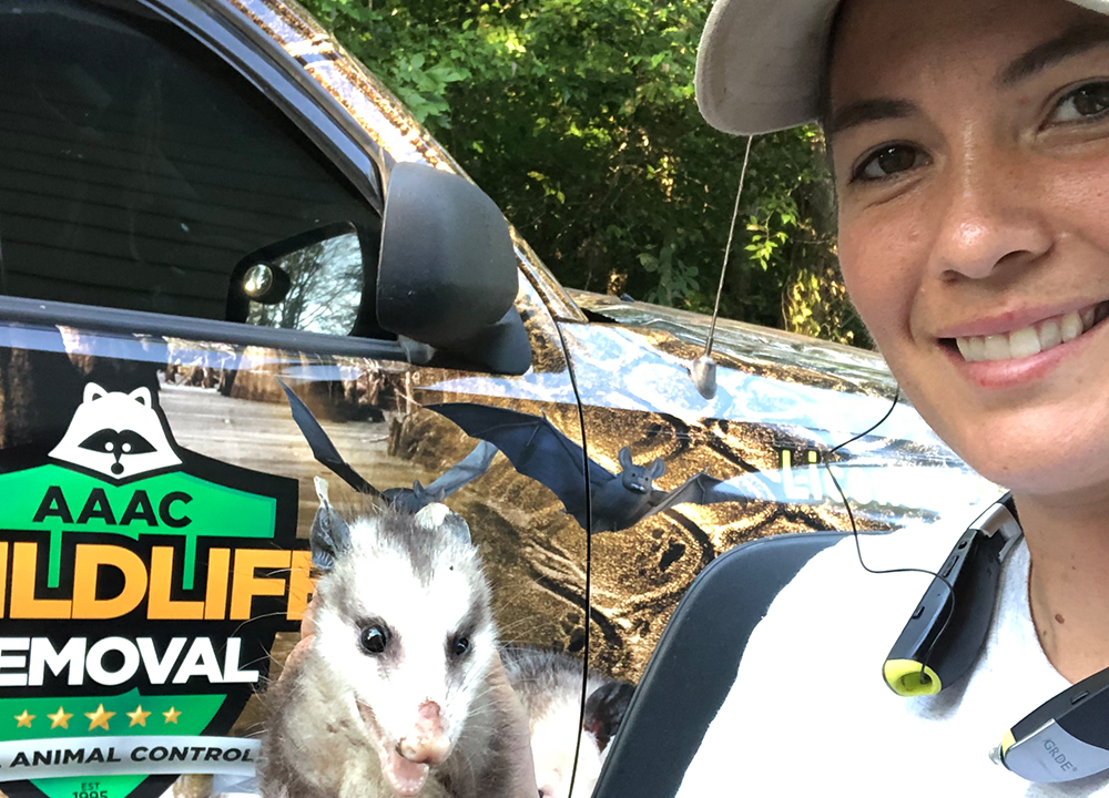 Wildlife removal owner beside a truck