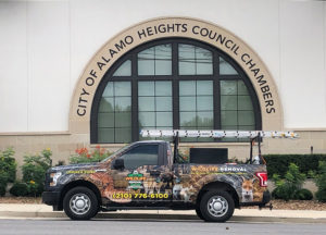 Wildlife Removal truch in front of Alamo Heights City Council Chambers