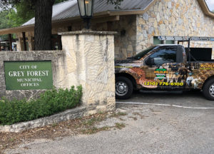 Wildlife Removal truck next to Grey Forest municipal offices
