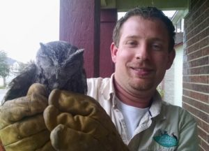 Wildlife removal technician holding an owl